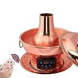 FGDSA Hot Pot Electric Mongol Hot Pot Vintage Hot Pot Shabu, Control Remoto Inteligente Cobre Diseño De Gran Capacidad Cocinero Tradicional Chino