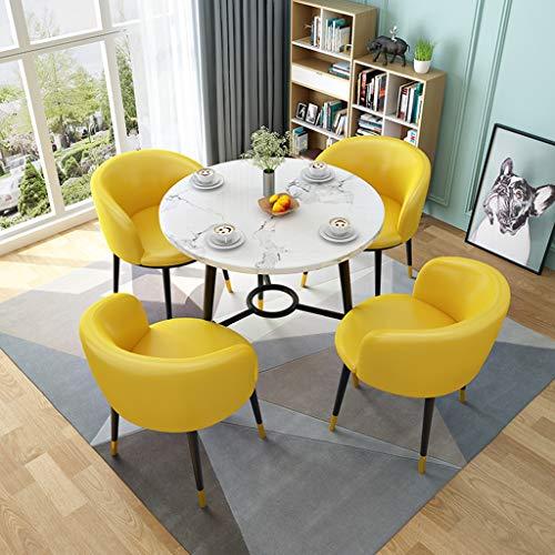 ZCXBHD Esstisch und 4 Stühle Holz Runde Tabelle Lederstühle Esstisch Set zum Küche Esszimmer Kaffee Freizeit 5 Stücke (Color : Yellow)