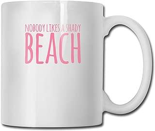 Riokk Az Nobody Likes A Shady Beach 11oz Coffee Mug Funny Cup Tea Cup Birthday Gift Ceramic