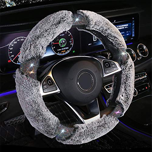 KAFEEK Diamond Fluffy Microfiber Plush Steering Wheel Cover with Bling Bling...