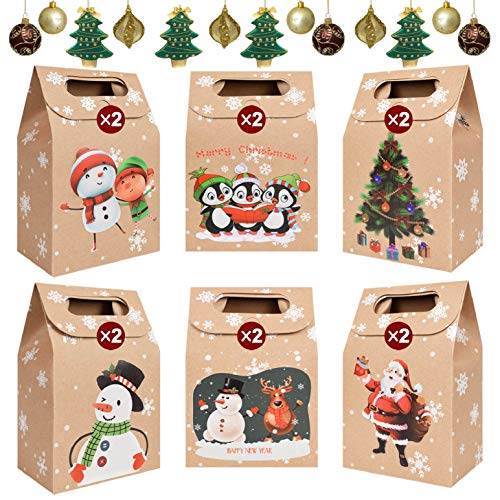 heekpek 24 Cajas de Regalo Navidad Bolsas de Regalo Kraft con Mango Bolsas de Regalo de Navidad Calendario de Adviento Decoración de Regalos para Navidad Fiesta