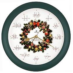 Justime Elegant 14-inch 12 Song of Carols of Christmas Wreath Melody Wall Clock, Quartz Home Wall Deco Clock (WR Green)
