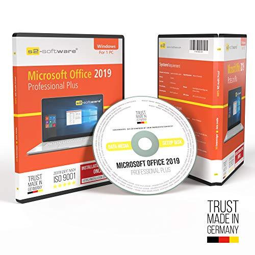 MS Office 2019 ProPlus DVD mit original Lizenz – Papiere & Lizenzunterlagen inklusive Lizenzrecht und Lizenzschlüssel – S2-Software in allen Sprachen 32 & 64bit