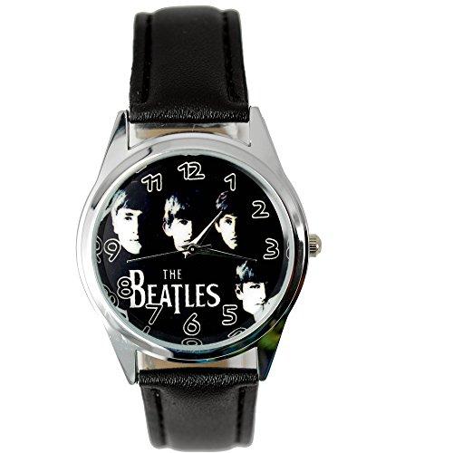 taport® The Beatles Quarz Runde Uhr Schwarz Echt Leder Band BW Zifferblatt + Gratis Ersatz Batterie + Gratis Geschenkverpackung