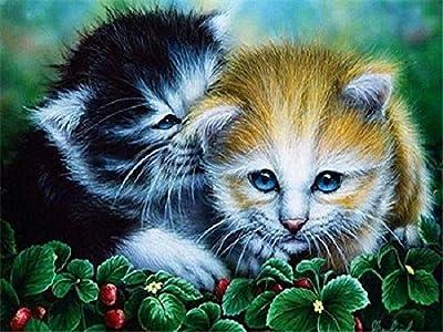 DIY diamante pintura animales completo redondo diamante bordado gato y perro imágenes de diamantes de imitación decoración del hogar A2 40x50cm