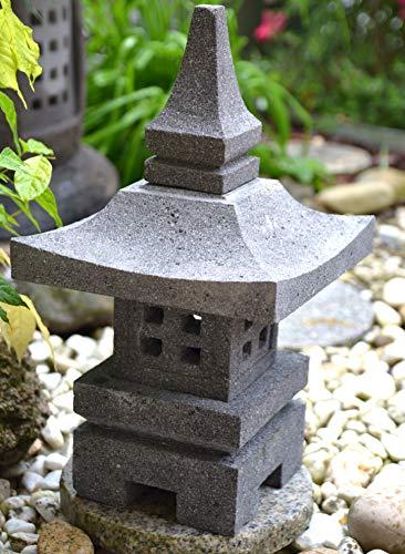Maison en France Pagode - Japanische Laterne, 46 cm - sehr schwere hübscher japanischer Tempel - frostfest-aus Granit + Lavastein