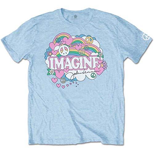 John Lennon Rainbows, Love & Peace T-Shirt, Bleu (Blue Blue), XX-Large Homme