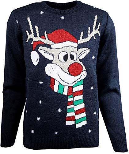 anagre Rydale suéter de Navidad para Hombre, con diseño de Isla Ferial, para Invierno, cálido, para Hombre Azul Azul Marino XL