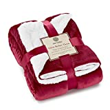 Genteele Sherpa Throw Blanket Super Soft Reversible Ultra Luxurious Plush Blanket (50 inches x 60 inches, Rich Burgundy Red/White)