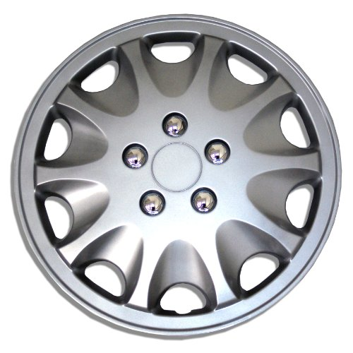 Tuningpros WC1P-15-1028-S - Pack of 1 Hubcap (1 Piece) - 15-Inches Style Snap-On (Pop-On) Type Metallic Silver Wheel Covers Hub-caps