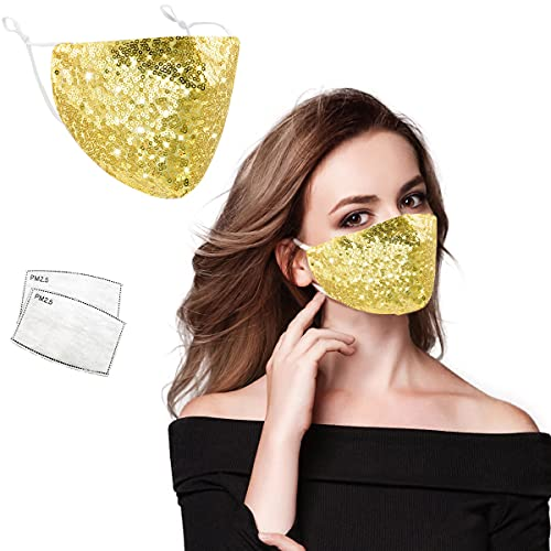 Bling Sequin Face Mask for Women, Sparkly Glitter Fashion Face Mask with 2 Filters Reusable Washable,Gold