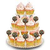NWK 2-in-1 3-Tier Cupcake Stand Cake Pop Lollipop Holder Floral Dessert Tower Treat Display Tree Rack for Birthday Wedding Tea Baby Shower Party (Clear)