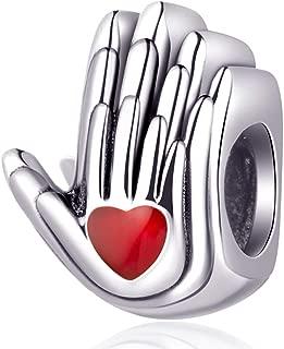 Sterling Silver Family Charm House Charm Heart Shape Love Charm Family Hand Charm for Bracelets
