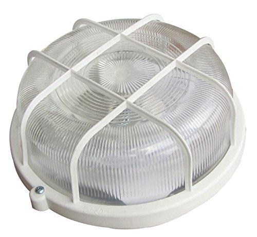 Tibelec 340210 - Foco redondo, con rejilla, plástico, 100 W, E27, 98 x 200 mm, color blanco