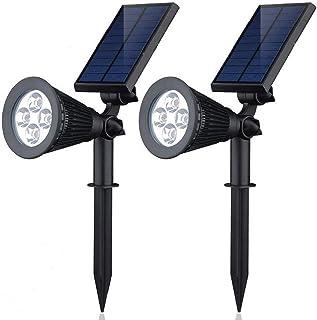 Outdoor 4 LED Waterproof Solar Lights, Lonwing Solar Spotlights,2 in 1 Adjustable Wall Light Landscape Lighting Dark Sensi...