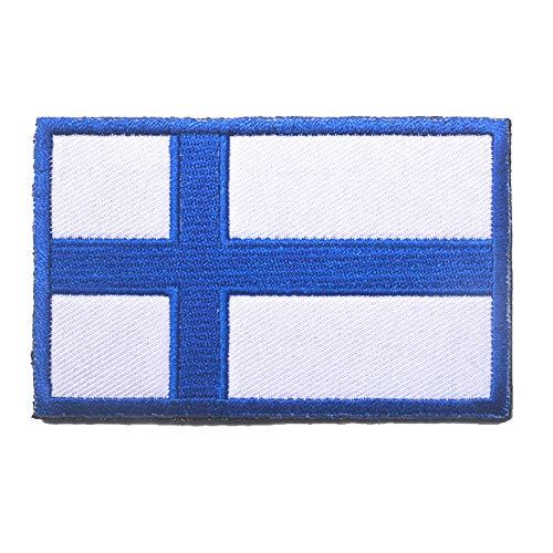 Aufnäher mit Finnland-Flagge, bestickt, zum Aufnähen oder Aufbügeln, mit Klettverschluss.