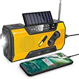 Wind Up Solar Radio,Emergency Radio Hand Crank Radio with Reading Lamp,LED Flashlight,2000mAh Power