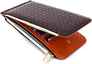 New Women's Wallet Card Bag Ladies PU Leather Long Wallet (Color : Brown, Size : S)