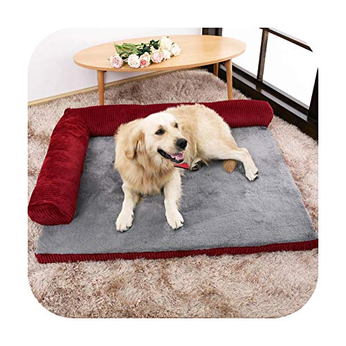 Warm Pet Dog Bed Sofa Soft Comfortable Puppy Mattress Large Dog House Bed For Cushion Washable Kennel Pets Removable Cat Dogs-Red-L(90x75x17cm)