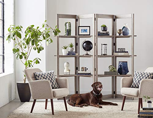 Martin Furniture Woodford Solid Wood Bookcase, Storage Space, Living Room Divider, Book Shelves, Gray