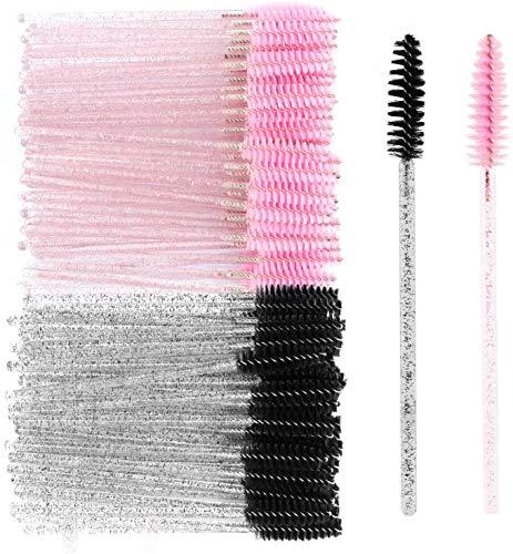 MWOOT Mascara Pinsel, 100 Stück Wimpern Bürste, Einweg Mascara bürstchen, Krystall Wimpernbürstchen für Schminken Rosa/Schwarz, Mascara Eyelash Brushes