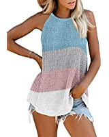 AlvaQ Halter Tank for Women Ladies Summer Casual Loose Coloe Block Striped Camis Sleeveless Shirts Blouses Plus Size Sky Blue 1X