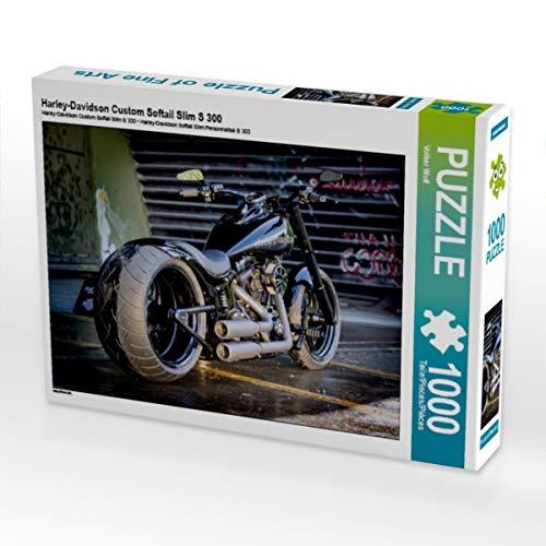 CALVENDO Puzzle Harley-Davidson Custom Softail Slim S 300 1000 Teile Lege-Größe 64 x 48 cm Foto-Puzzle Bild von Volker Wolf