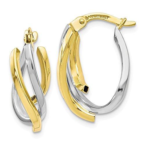 Leslie's - Pendientes de aro trenzados de oro de 10 K pulidos en dos tonos