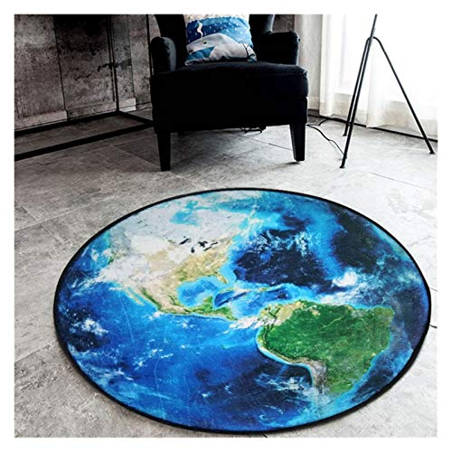 Goqiwep Alfombra Planeta Plush Floor Alfombrilla Ronda Alfombra para Sala de Estar Dormitorio Dormitorio Moon Earth Sun Mats Home Textil Textil Decor Alfombras (Color : Earth, Size : 120cm Diameter)