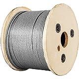 VEVOR Cable de Alambre Acero Inoxidable, Cuerda de Alambre de Acero T316 1/8 de 150 m, Cable de Acero de 30 x 30 x 25 cm Duradero, Resistente a la Corrosión y Rotura 650 kg para Maquinaria y Medicinas