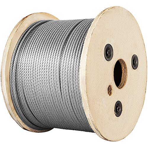 Mophorn Stainless Steel Cable Railing 1/8'x 500ft, Wire Rope 316 Marine Grade, Braided Aircraft Cable 7x7 Strands Construction for Deck,Rail,Balusters,Stair,Handrail,Porch,Fence