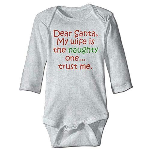 Unisex Newborn Bodysuits Dear Santa Naughty Wife Baby Babysuit Long Sleeve Jumpsuit Sunsuit Outfit Ash