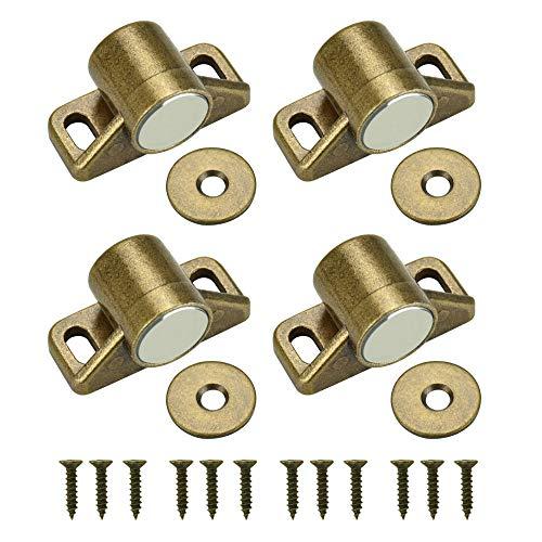 TANCUDER 4 Stück Tür Magnetverschluss Rund Magnetschnäpper Schrank Türmagnet Stark Haltemagnet Magnetverschluss Möbelmagnet Türverschluss mit 4 Unterlegscheiben, 12 Schrauben für Balkontür