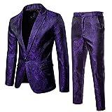 Mens 2 Piece Paisley Dress Suit One Button Party Wedding Blazer Pants Sets Purple
