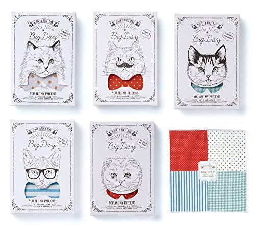 人気の猫柄に遊び心を加えたパッケージのハンカチのギフト(1個)結婚式 二次会 バレンタイン ホワイトデー 送別会 ご挨拶 プチギフト ねこ ネコ