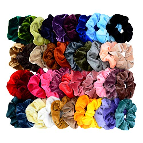 Price comparison product image Chloven 42 Pcs Hair Scrunchies Thick Korea Velvet Elastics Bobbles Hair Bands Scrunchy Hair Ties Ponytail Holder Scrunchie for Women Girls Hair Accessories- 42 Assorted Colors Scrunchies