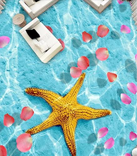 Embalaje de baldosas autoadhesivas, pétalos de mar de estrellas de mar, diseño de suelo estéreo 3D-150 * 105 cm, sala de estar, cocina, baño