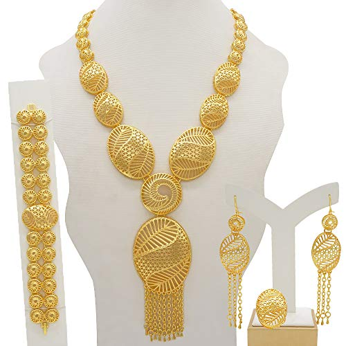 YiYue Juego de joyas Dubai de oro de 24 quilates, adecuado para mujeres, collar de lujo, anillo de oreja de pulsera, regalo de decoración de boda africana india (color metálico: BJW42)