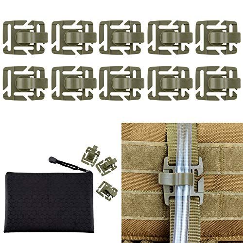 BOOSTEADY 10 pcs Clips de Tubes d'hydratation Militaires Tactiques Multifonctionnel pour Attache de Sangle Molle,Clip de Tubes d'eau rotative à 360