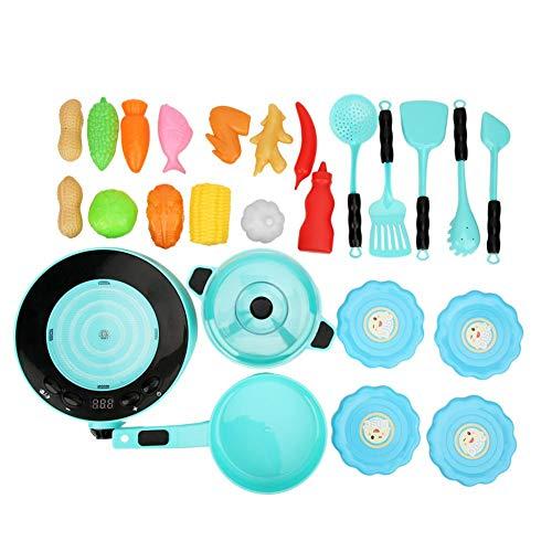 XINL Juguete de Cocina de inducción, Juguete de Cocina de inducción de simulación eléctrica Duradera, Regalos para niños, Escuela, hogar(Blue)