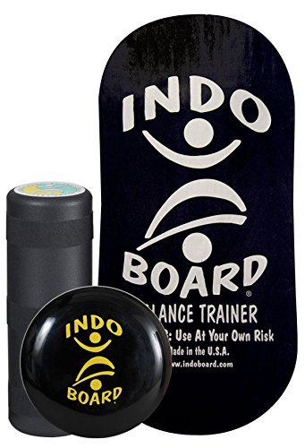 INDO BOARD Rocker Balance Board Package - Black and Silver - Improve Balance, Comes with 33' X 16' Non-Slip Deck 6.5' Roller and 14' Cushion