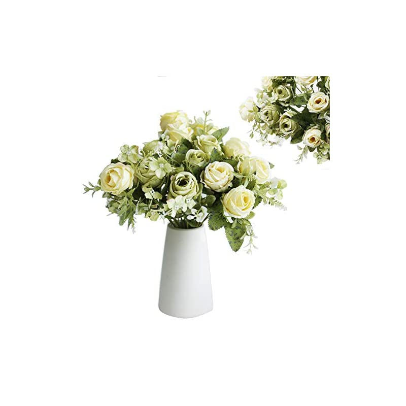 silk flower arrangements multi candy 3 packs artificial flowers with ceramic vase, silk rose flower arrangements,wedding bouquet, white greenical flower for home party decoration (white/green+white vase)