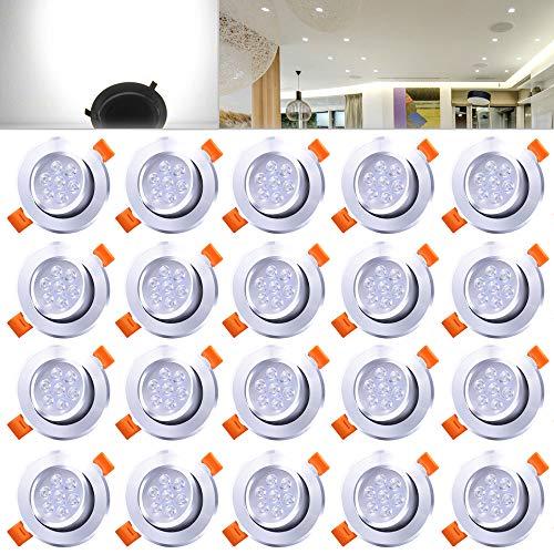 Hengda® 20er Pack 7W LED Einbauleuchte Kaltweiß Schrankleuchten für Geschäft Vitrinenbeleuchtung Aluminium Möbelleuchte Dimmbar 220v Leuchte