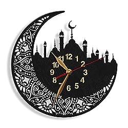 Islamic Mosque Big Wood Wall Clock -Select Size- Muslim Moon tracery Art Decor Large Islamic Symbol Wall Art Décor
