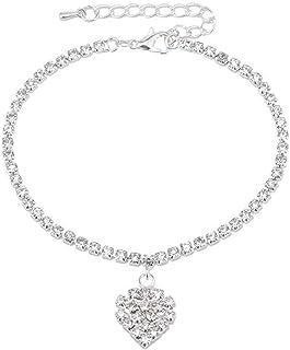 chuàngyìbō女性のアンクレットブレスレット[金属アレルギー] 925シルバーアンクルラブフルダイヤモンドの長さ調整可能な無限アンクレット誕生日プレゼント付きギフトボックス
