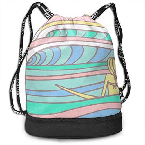 ziHeadwear Surfboards Pattern Drawstring Bag Sport Gym Sack Bundle Backpack Daypack for Men and Women Outdoor Shopping Satchel Rucksack