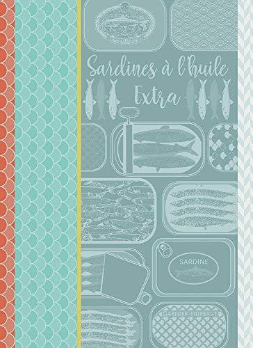 Garnier Thiebaut Geschirrtuecher Sardines A L Huile Turquoise 56 X77 cm 100% Baumwolle