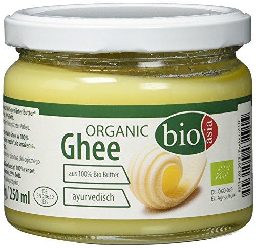 BIOASIA Bio Butter Ghee, Butterschmalz zum Braten, Frittieren, Kochen und Backen, Butterreinfett für die gesunde Ayurveda-Küche oder Paleo-Diät, 1 x 250 ml
