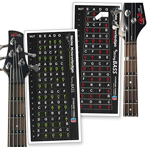 4 & 5 String Bass Guitar Note Map Decals/Sticker Combo Pack for learning Note Placement, Scales and Chords on the bass guitar.