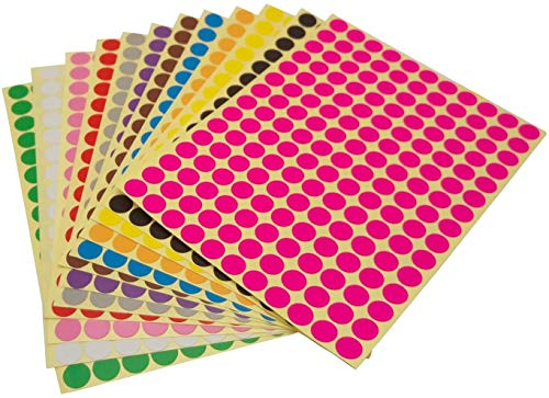 Runde Punktaufkleber,Farbetiketten 8mm Dot Klebepunkte 16 Farben/Blatt Farbkodierung Etikette 3900 Stück Markierungspunkte